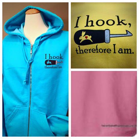 "Hoodie Sweatshirt ""I hook, therefore I am"", Color Lagoon (Blue)"